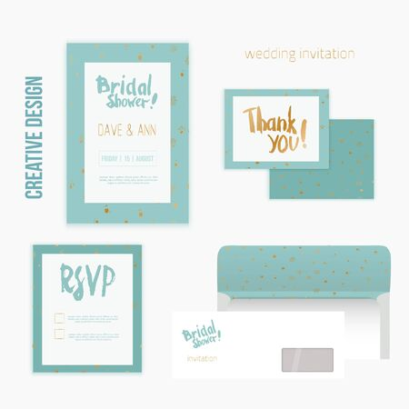 beauty birthday: Set of wedding invitation cards with thank you card, RSVP card, envelope in mint vintage style and golden polka dot pattern. Illustration