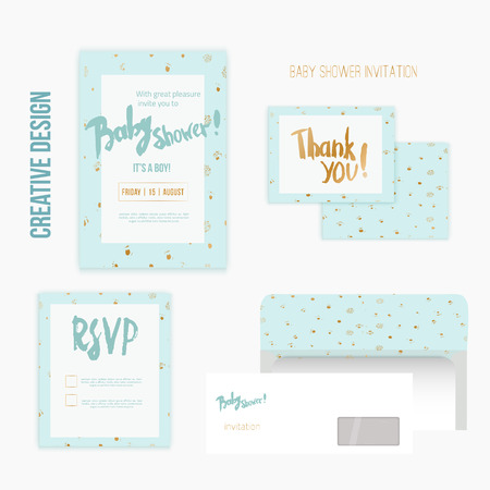 shower: baby shower invitation template vector illustration with polka dot pattern for boy