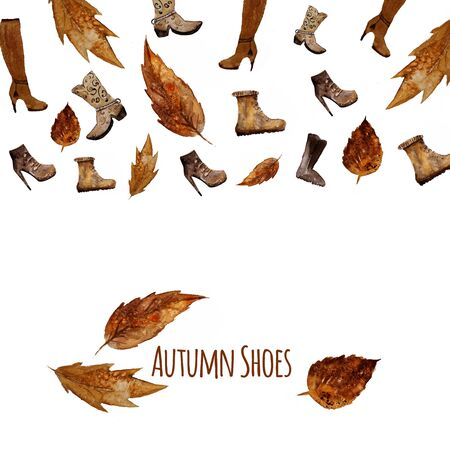 fall winter: Watercolor Shoes set .Autumn style. Hand painted fashion illustration with leaves