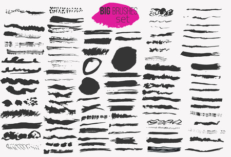 ベクター大きな白インク ブラシ ストロークを設定します。グランジの汚れ。ロゴ、バナー、ヘッドラインの功妙な背景  イラスト・ベクター素材