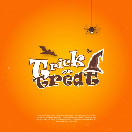 orange background: Vector Happy Halloween Poster invitation with hat and bat.