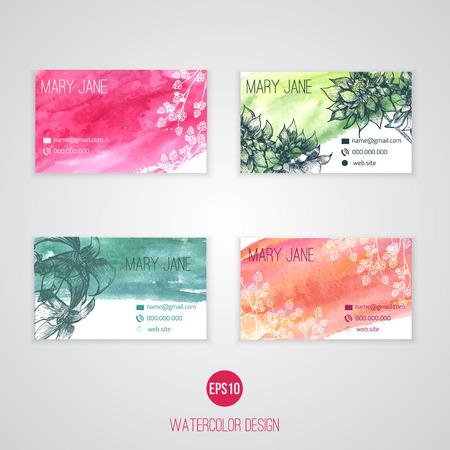 flor morada: Vector Conjunto de tarjetas de negocios creativos con flores de dibujo y salpicaduras de acuarela abstracta.