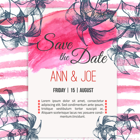 herbals: Vector  save the date card  with hand drawn herbals in rustic style and watercolor background