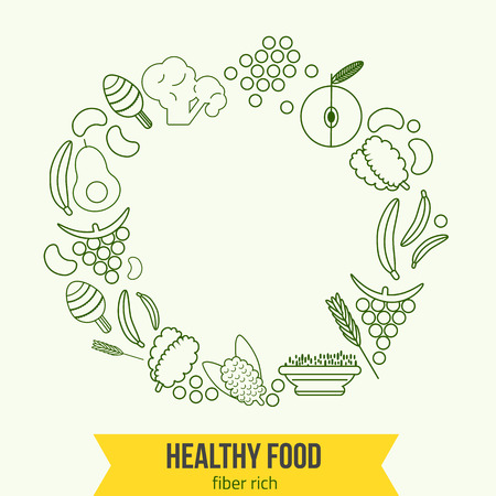 brown rice: Vector  healthy rich fiber foods line icons wreath.