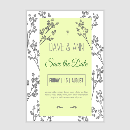 sketch: Vector save the date card  with hand drawn herbals in rustic style.