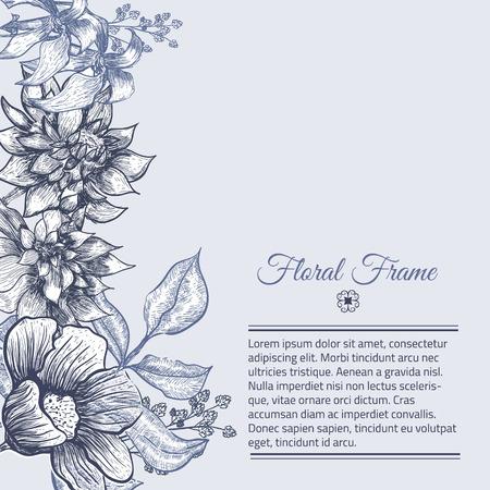 Vector Vintage frame floral background design. Botanical illustration. Sketch linear template for card invitations, banner, save the date, site