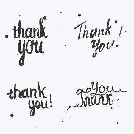 merci: Ensemble de Merci lettrage à la main. Vector design pour la publicité, cartes de v?ux et contenu des médias sociaux, la conception du logo, timbre silhouette. Banque d'images