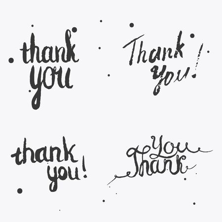 to thank: Set of Thank you Hand lettering. Vector design for advertisement, greeting cards and social media content, design of logo, stamp silhouette. Stock Photo