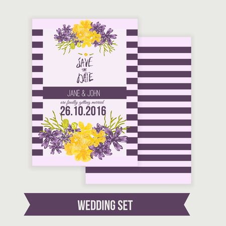 special occasions: Wedding invitation  template with floral wreath. Vector background Save the date cards and special occasions, life events, baby shower. Illustration