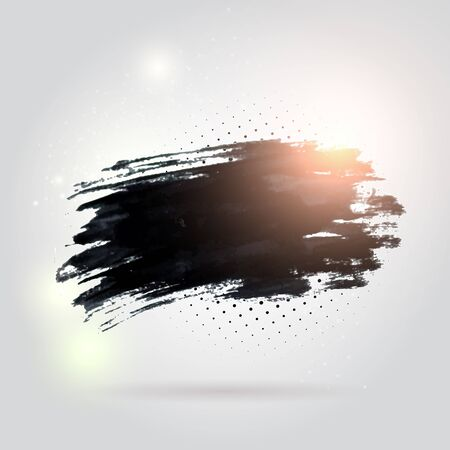 ink stain: Black ink vector stain with shiny particles.