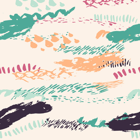 mode retro: Vector boho seamless pattern with bold lines in pink, turquoise and gray colors. Hand drawn Creative Print texture for retro fashion and sportswear. EPS10