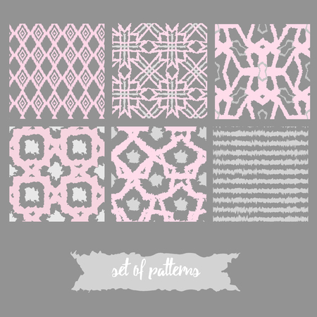 swooshes: Vector set of boho seamless patterns with bold lines in pink and gray colors. Print texture for retro fashion. EPS10 Illustration