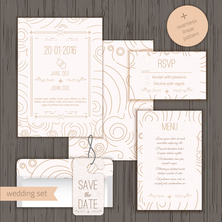 rsvp: Modern linear wedding invitation card design set include Invitation card, Save the date, RSVP card,menu card and door hanger