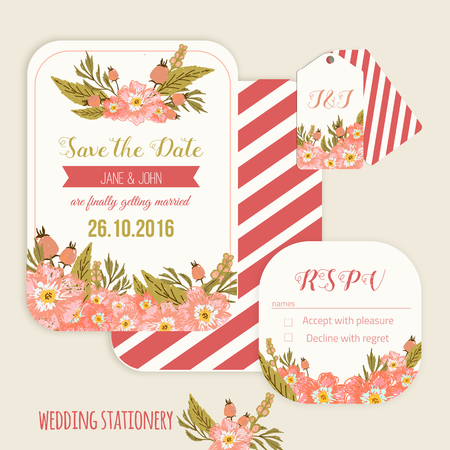 rsvp: Vector  save the date card  with hand drawn vintage  flowers  in rustic style with tags and rsvp card. EPS10