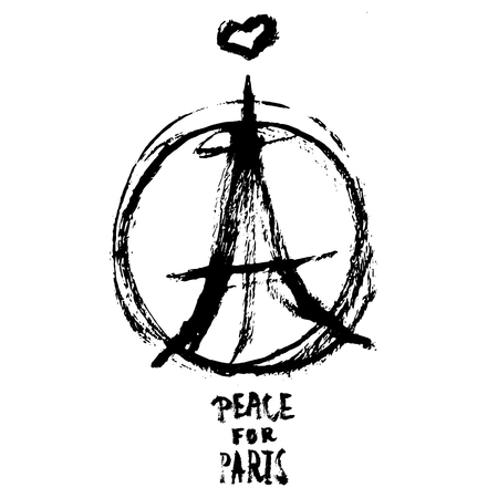 french symbol: Hand drawn peace for Paris illustration of pray hands, pray fpr Paris with words