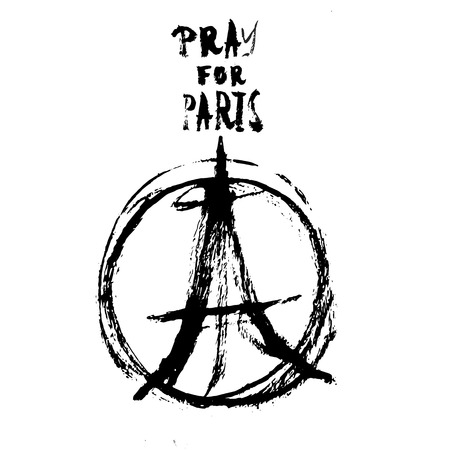 killed: Hand drawn peace for Paris illustration of pray hands, pray fpr Paris with words