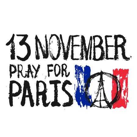 Hand getrokken bidden voor Parijs illustratie, vrede voor Parijs met woorden en de datum op de vlag Stockfoto - 48630198