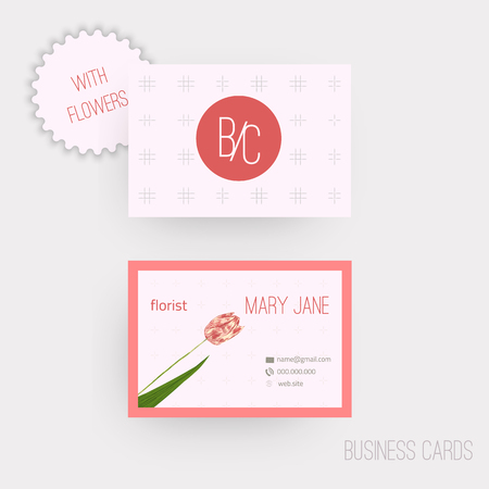 complied: Vector floral horizontal business cards. Complied with the euro standard sizes Illustration