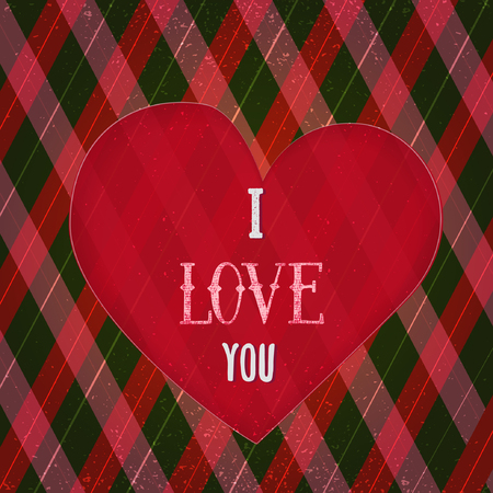 rhomb: I Love You Poster with heart on rhomb background. Can be used for  greeting card