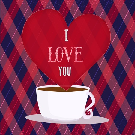 rhomb: I Love You Poster with heart and coffee cup on rhomb background. Can be used for  greeting card Illustration