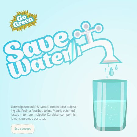 water can: Save Water Illustration Conceptual with glass of water. Can be used  for web sites and printed materials in cartoon style, flat.