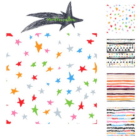 stars and stripes: Vector colorful hand drawing cute samless patterns backgrounds set with stars, stripes and zig zags.