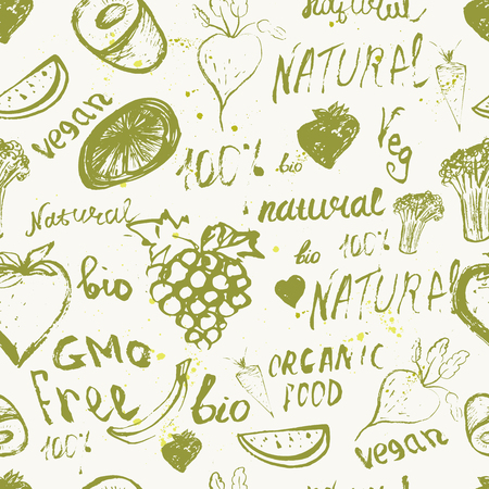 natural health: Vector ink  green seamless pattern with lettering and vegetables. Eco branding, fabric, wallpaper, backdrop, background, packaging, ornament Illustration