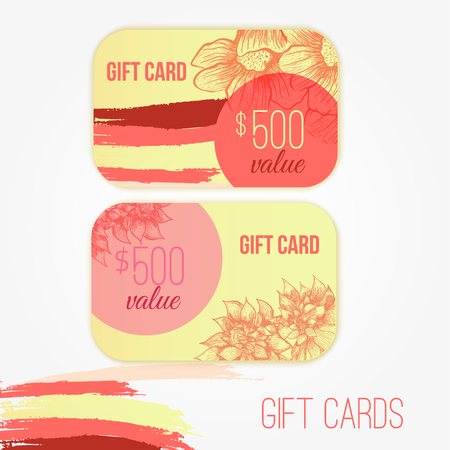 flexible business: Set of trendy gift card templates with flowers and colorful brush strokes for your design Illustration
