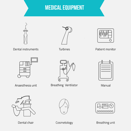 ventilator: Thin lines web icon set - Medicine equipment including dental chair, breathing ventilator, patient monitor