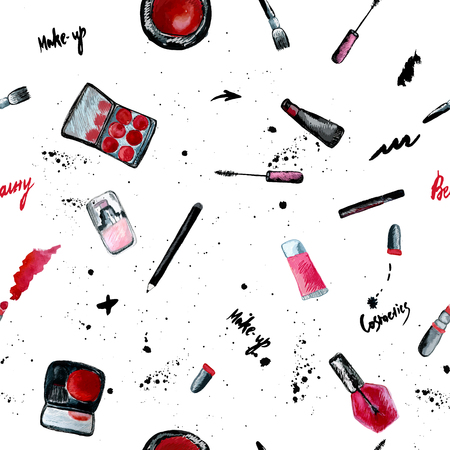 Vector glamorous make up seamless pattern with nail polish and lipstick.Creative design for card, web design background, book cover. EPS10