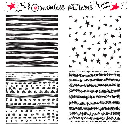 stars and stripes: Vector hand drawing cute samless patterns backgrounds set with stars, stripes and zig zags. EPS10