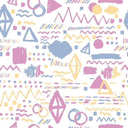 backdrop: Seamless geometric hand drawn pattern in retro style, memphis. Can be used for fabric design, paper print and website backdrop, sportswear.