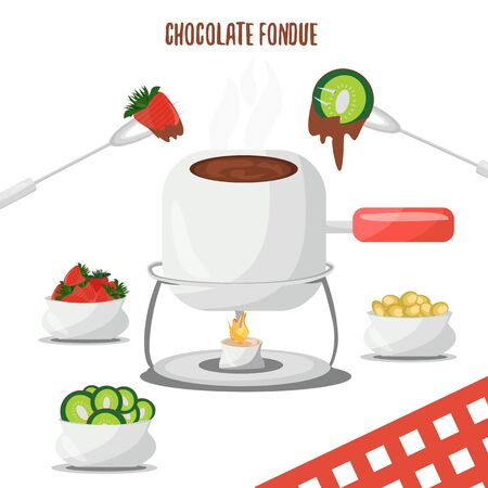fondue: Chocolate Fondue Strawberry, Kiwi and Grapes . Romantic evening. swiss food. Vector illustration.