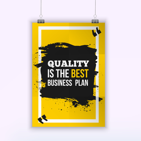 aspirational: Poster Quality is the best business plan. Motivation Business Quote Design Concept on paper with dark stain. Illustration