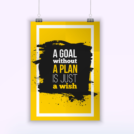 succession planning: Motivation Business Quote A Goal Without a Plan Is Just a Wish Poster. Design Concept on paper with dark stain.