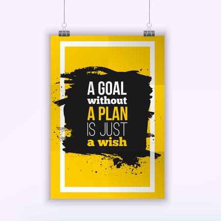 Motywacja Cytat biznesowy Cel bez planu to tylko plakat z życzeniami. Koncepcja Projektu na papierze z ciemnym plamem.
