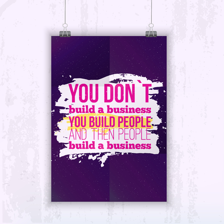 starry night: Inspirational Quote Build business with your people - poster mock up for your wall with starry night on background