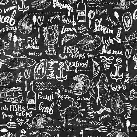 Vector sea food background. Seamless seafood pattern. Vector Seamless seafood background on dark chalk board in vintage style for menu design, wrapping, banners. Stock Illustratie