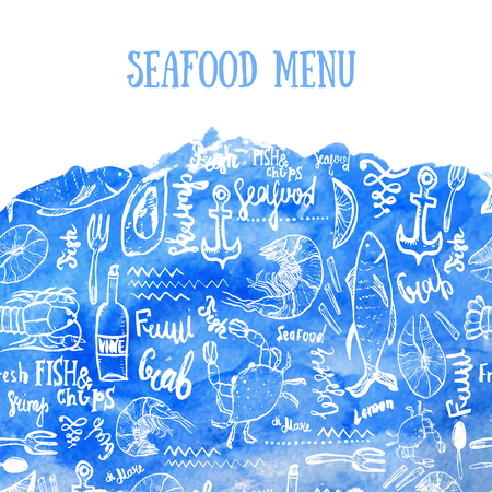 seafood background: Vector seafood background. Vector seafood background on blue watercolor in modern style for menu design, wrapping, banners.