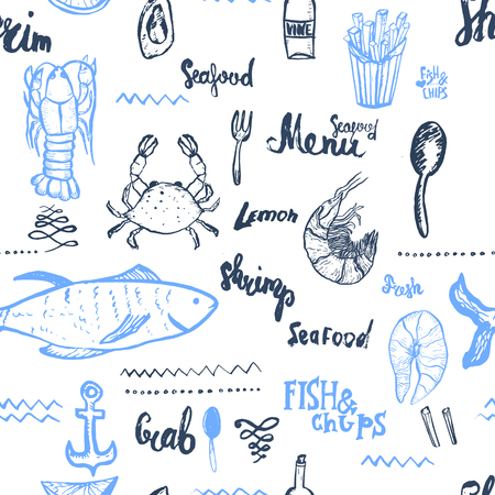 Vector seafood background. Seamless seafood background. Vector Seamless seafood background isolated on white in vintage style for menu design, wrapping, banners Vettoriali