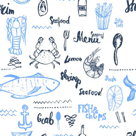 Vector vis achtergrond. Naadloze vis achtergrond. Vector Naadloze vis achtergrond geïsoleerd op wit in vintage stijl voor menu design, verpakking, banners