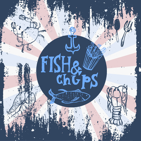 fish chips: Fish restaurant. Fish & chips poster. Menu for fish restaurant or bar with a picture of the fish on a blackboard. Simple drawn sketch in vector format Vectores