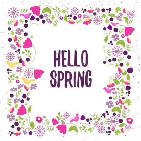 floral vector: Vector floral frame in doodle style with flowers and leaves. Gentle floral frame hello spring, Floral frame background