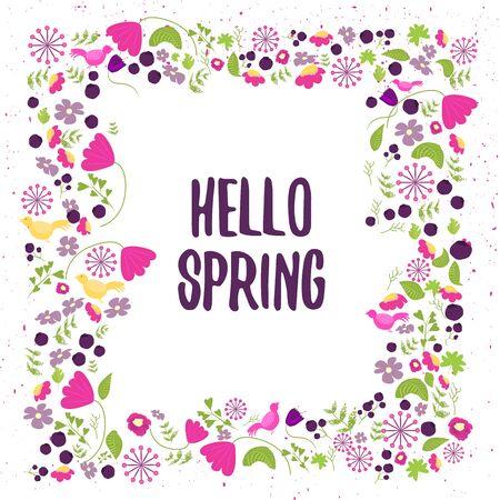 Vektorblumenfeld in Doodle-Stil mit Blumen und Blättern. Sanfte Blumenrahmen hallo Frühling, Blumenfeld Hintergrund