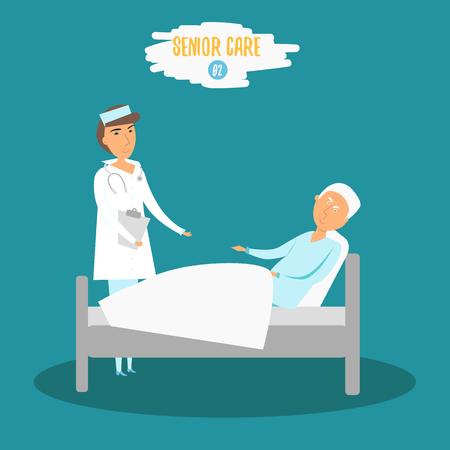 moderm: Vector Care senior. Woman doctor helping senior man near bed. Careing senior nurse at hospital. Care senior moderm illustration for flyer, banner, infographics