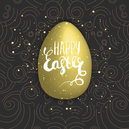 Happy easter with golden egg on dark background. Hand lettering.vector illustration. Illustration