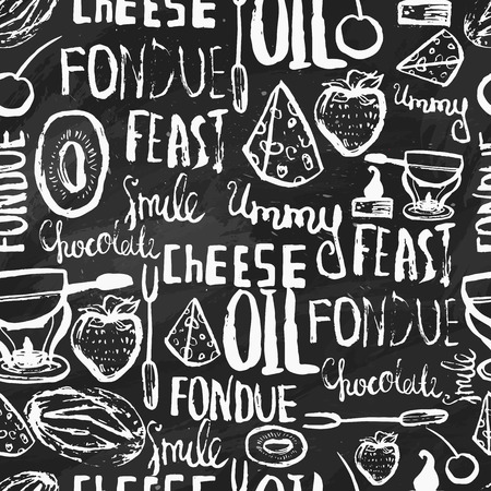 Sweet fondue seamless pattern on chalk background. Traditional swiss food. Can be used for menu, banners, invitations