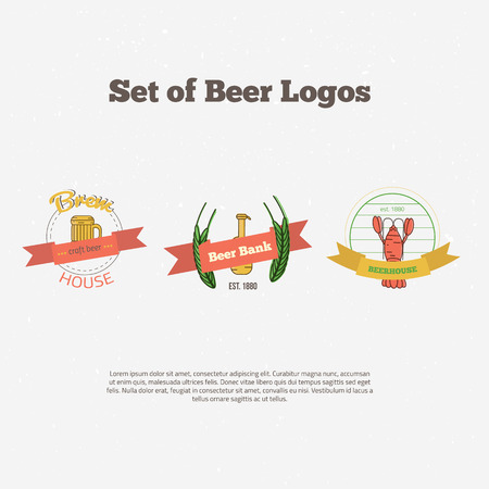 alchoholic drink: Retro styled colorful beer label set. Royalty free illustration for greeting card, ad, promotion, easter poster, flier, blog, article, marketing, signage, brochure, icon