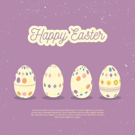 huevo caricatura: Tarjeta de la vendimia de felicitación feliz de Pascua con los huevos y las letras. Concepto del vector para los sitios web y materiales impresos en estilo de dibujos animados. Iconos  Pascua web.