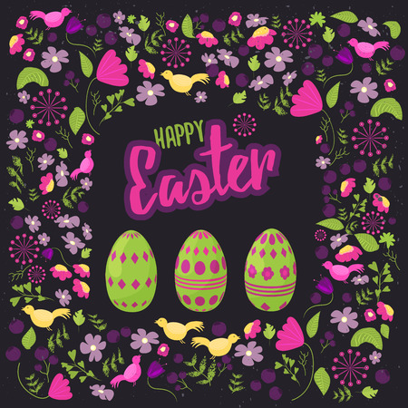 green floral: Easter floral frame with colorful eggs on dark background. Can be used for easter greetings, easter icons, banners